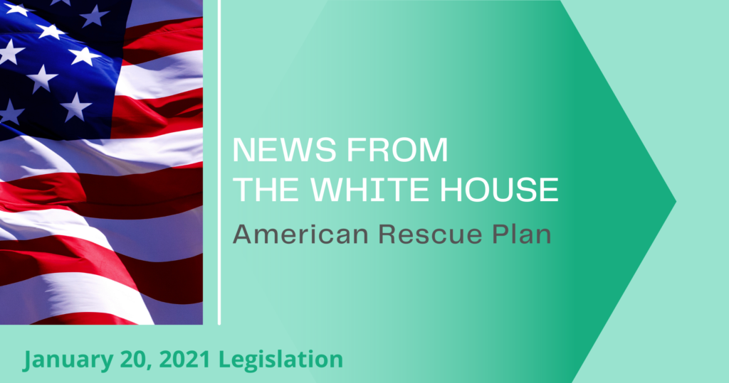 news with flag from white house